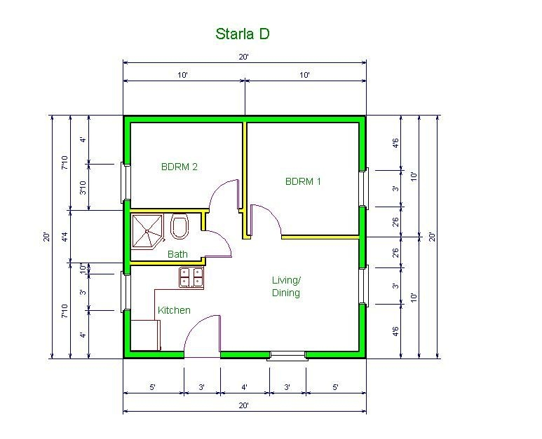 20x20 apt floor plan starla model d floor plan 20 x 20 X 20 Cabin Plans