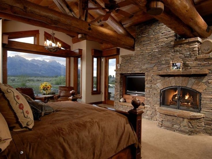 38 rustic country cabins with a stone fireplace for a Romantic Mountain Cabin Getaways