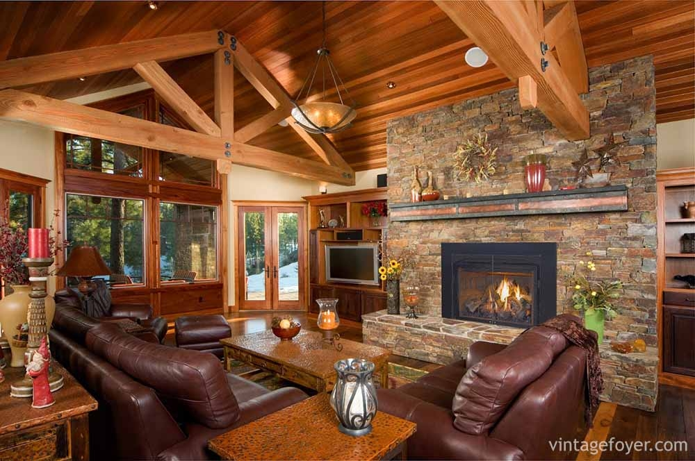 44 cozy living rooms cabins with beautiful stone fireplaces White Walls Brown Furniture Cabin Style Home