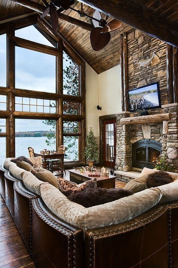 47 extremely cozy and rustic cabin style living rooms White Walls Brown Furniture Cabin Style Home