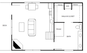 840 sq ft 20 x 30 cottage for two 20 X 20 Cabin Plans