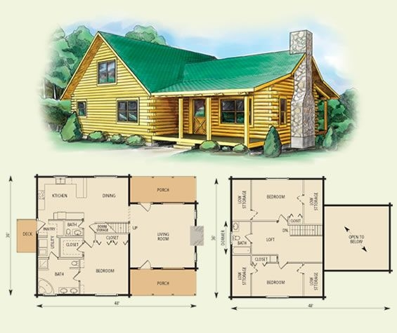 carolina log home and log cabin floor plan 3 bed room Two Story Cabin Plans
