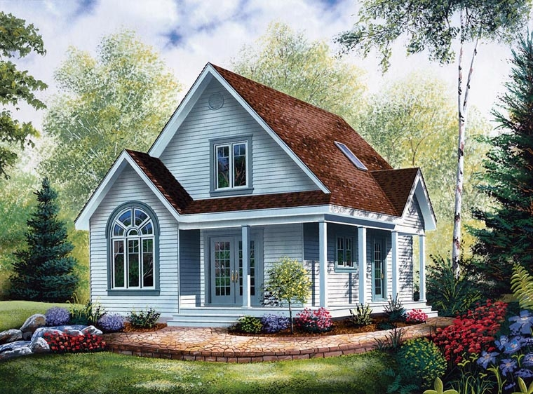 country style house plan 64983 with 2 bed 2 bath Cabin House Plans