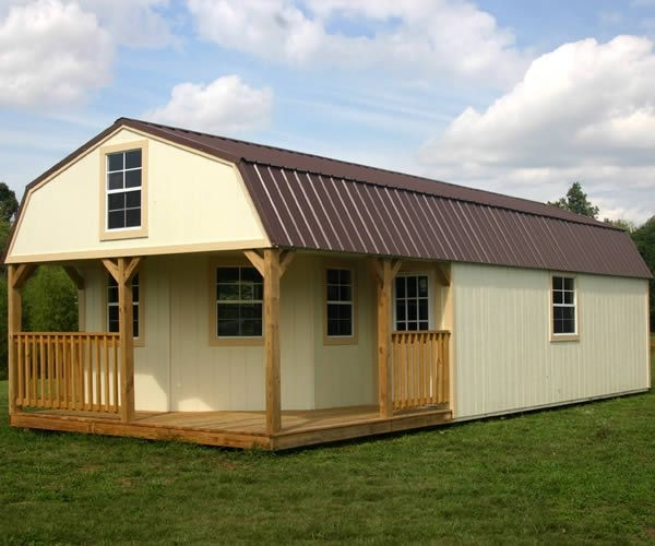 derksen portable painted lofted barn cabin with wrap around 16x40 Deluxe Lofted Barn Cabin