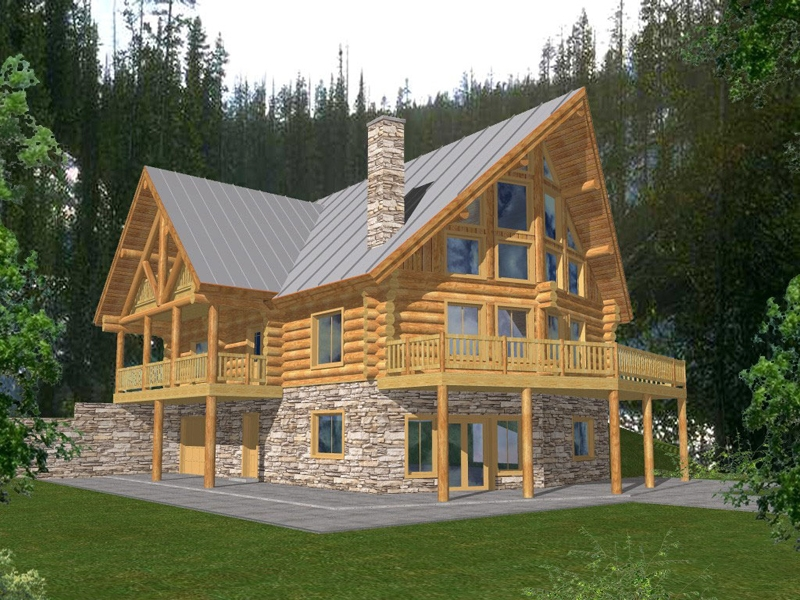 forestbriar luxury a frame home plan 088d 0049 house plans Two Story Cabin Plans