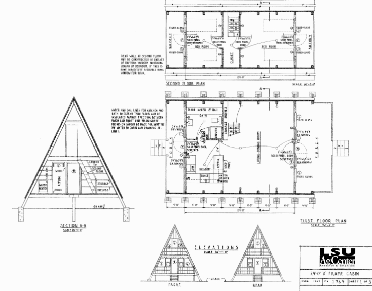 free small cabin plans A Frame Cabin Floor Plans