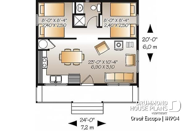 house plan great escape no 1904 2 Bedroom Cabin Floor Plans