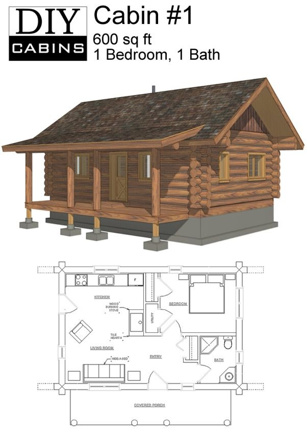 log cabin 1 is a 600 sq ft 1 bedroom and 1 bathroom design 600 Square Foot Log Cabin