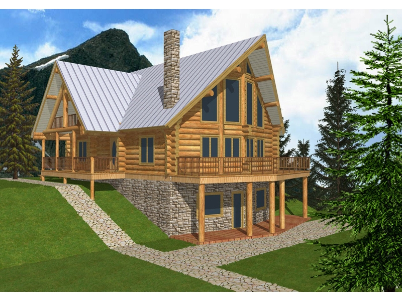 mountview a frame log home plan 088d 0003 house plans and more Mountain Cabin Plans With Loft