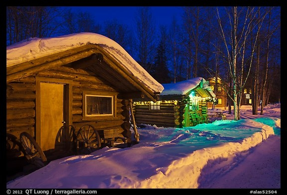 picturephoto cabins at night in winter chena hot springs Chena Hot Springs Cabins