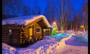 picturephoto path in snow and cabins at night chena hot Chena Hot Springs Cabins
