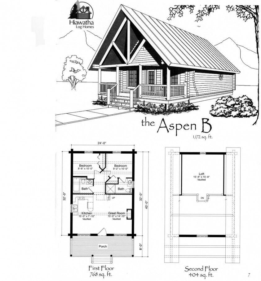 the aspen b log home kit hiawatha log homes munising mi Cabin With Loft Plans
