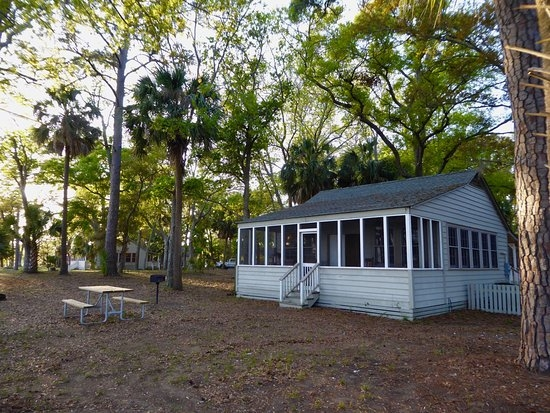 the six park cabins have two double beds and a couch to Edisto State Park Cabins