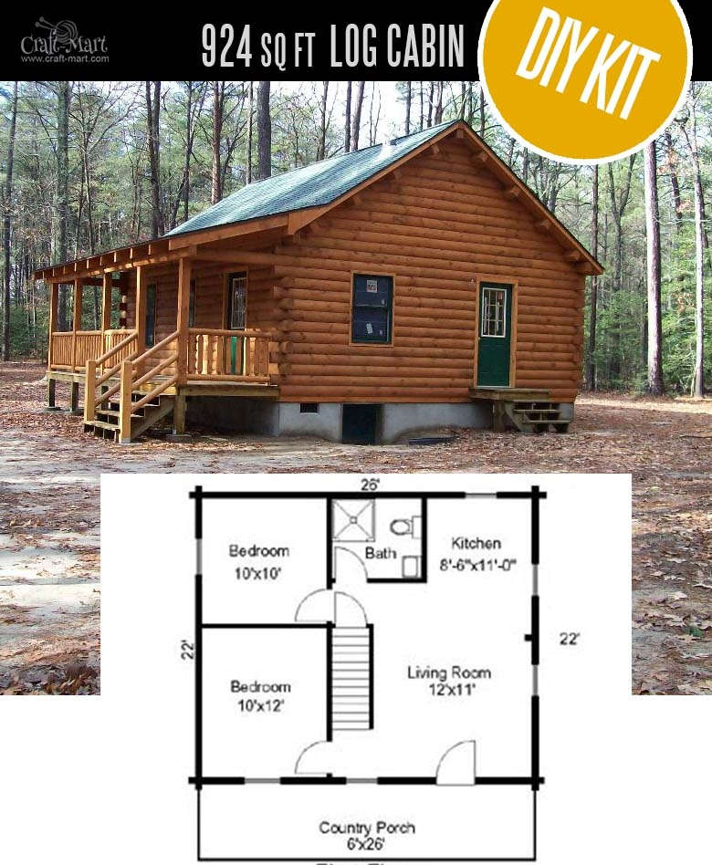 tiny log cabin kits easy diy project craft mart 600 Square Foot Log Cabin