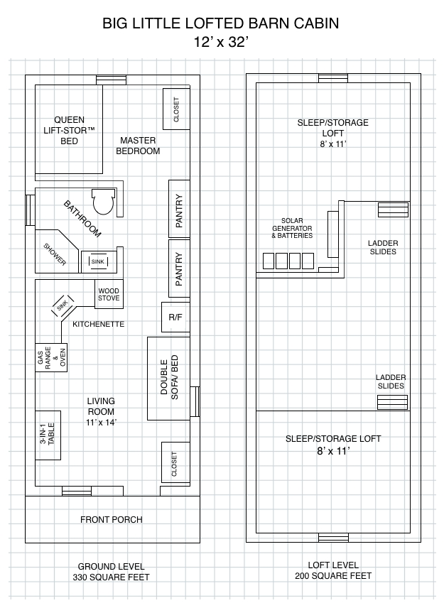 cabin plans lofted floor plan the barn 12×24 12×32 16×40 Deluxe Lofted Barn Cabin Floor Plans