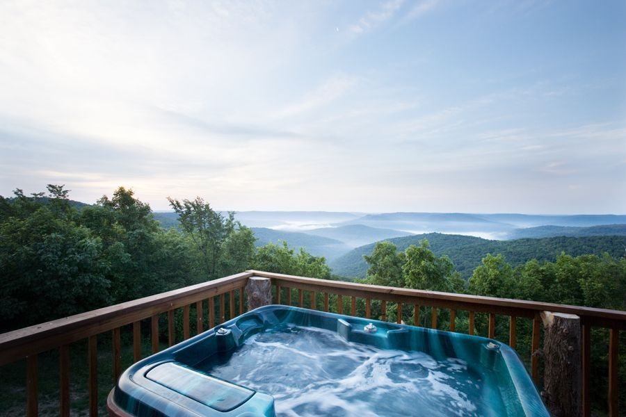 the hot tub view from cabin x arkansas vacations cabin Romantic Cabin Getaways With Hot Tubs