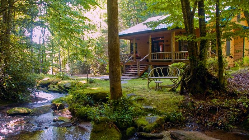 the secluded luxury waterfall cabin has internet access Cabins Brevard Nc