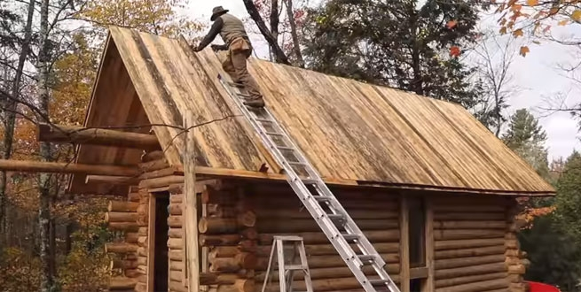 watch this man build a log cabin from scratch Cabin Construction