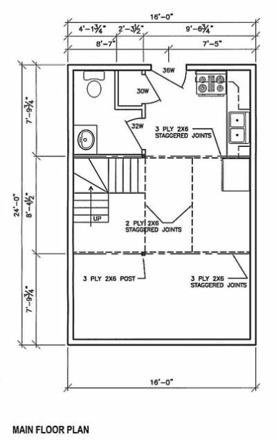 16×24 floor plan in 2020 house floor plans cabin floor 16×24 Cabin Layout