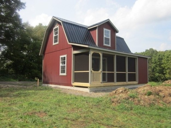 18x24 two story dutch cabin shell with 6 porch Home Depot Cabins