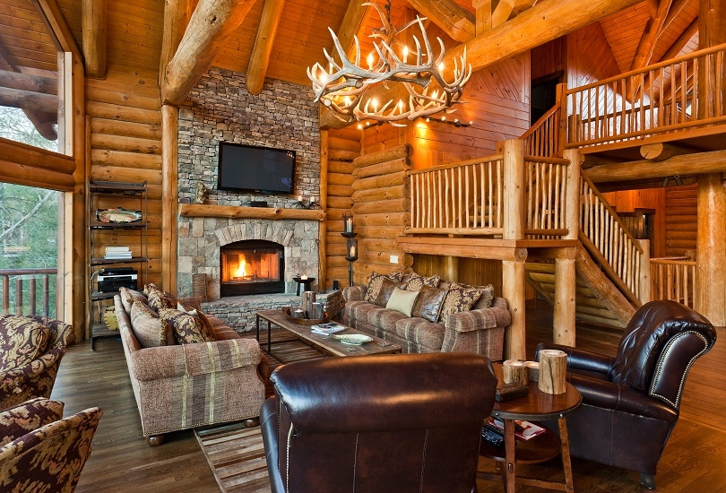 22 luxurious log cabin interiors you have to see log cabin hub Log Cabin Living Room Furniture