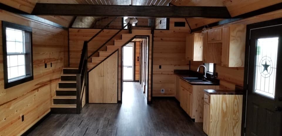 custom finished 14 x 40 side lofted barn cabin Deluxe Lofted Barn Cabin Interior