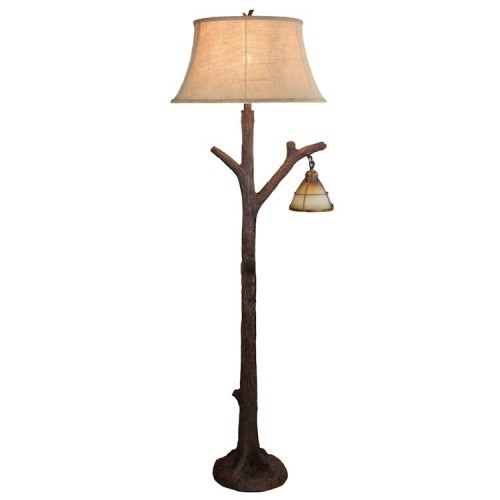 details about tree branch floor lamp glass lantern night light rustic cabin lodge decor 635 Cabin Floor Lamps