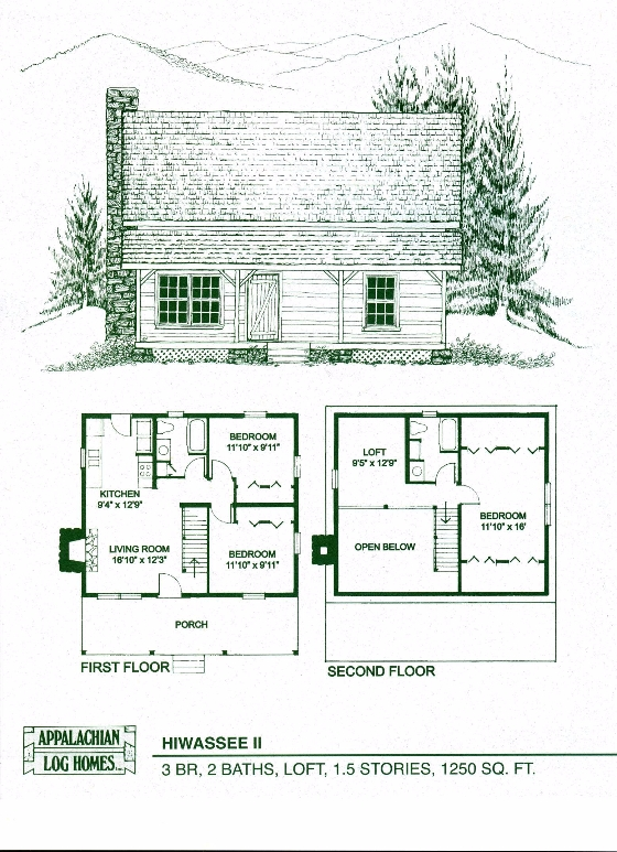 hiwassee ii 3 bed 2 bath 15 stories 1250 sq ft 3 Bedroom Cabin Plans With Loft