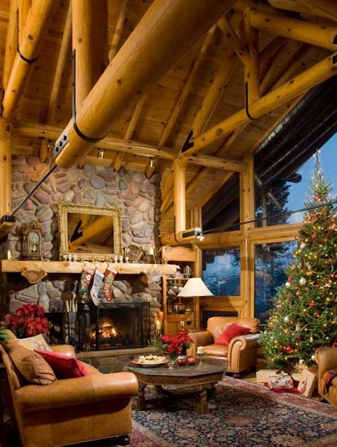 i have always dreamed of a christmas in the mountains with Beautiful Christmas Cabin Interiors