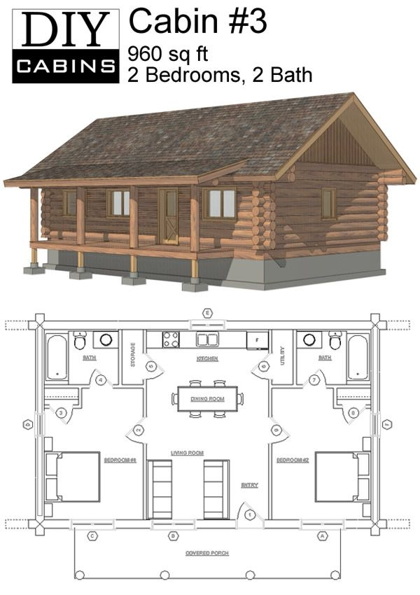 maybe widen second for bunks or add a loft space with small Log Cabin Floor Plans With 2 Bedrooms And Loft