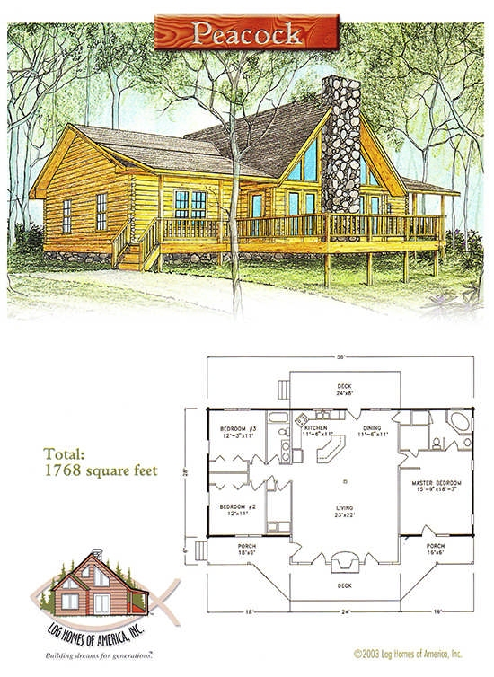 peacock log home floor plan log homes of america Cabin House Floorplans