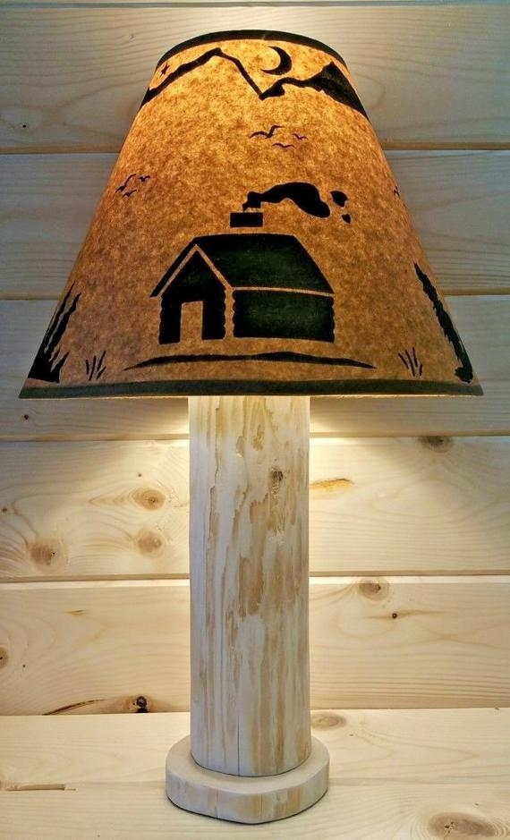 rustic log cabin cedar table lamp authentic western red cedar free parchment lamp shade cabin ski lodge log furniture northwoods decor Cabin Lamp Shades