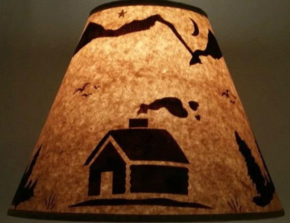 rustic log cabin lamp shade 12 inch bottom diameter 9 inch slant 5 inch top diameter ski lodge log furniture decor bear moose western Cabin Lamp Shades