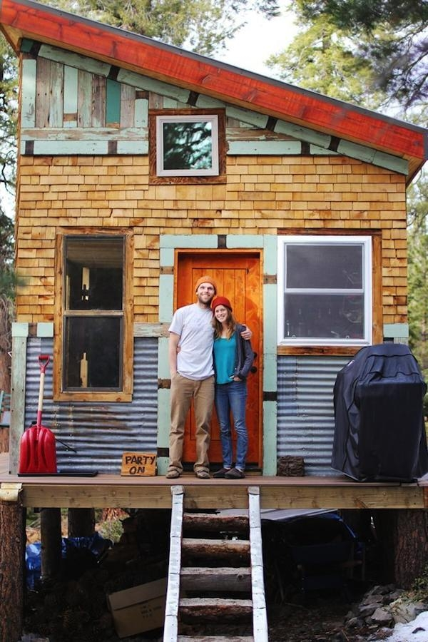 young couple build mortgage free off grid micro cabin Build Off Grid Cabin