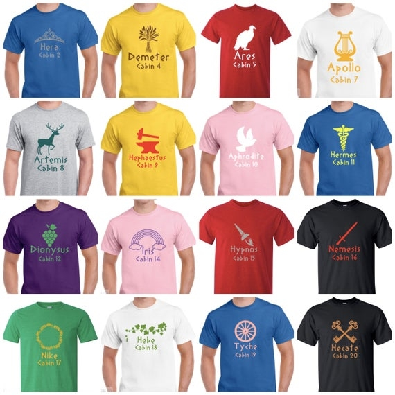 youth or toddler camp half blood cabin shirts inspired percy jackson and the olympians t shirt all 20 greek god cabins are available Camp Half Blood Cabins