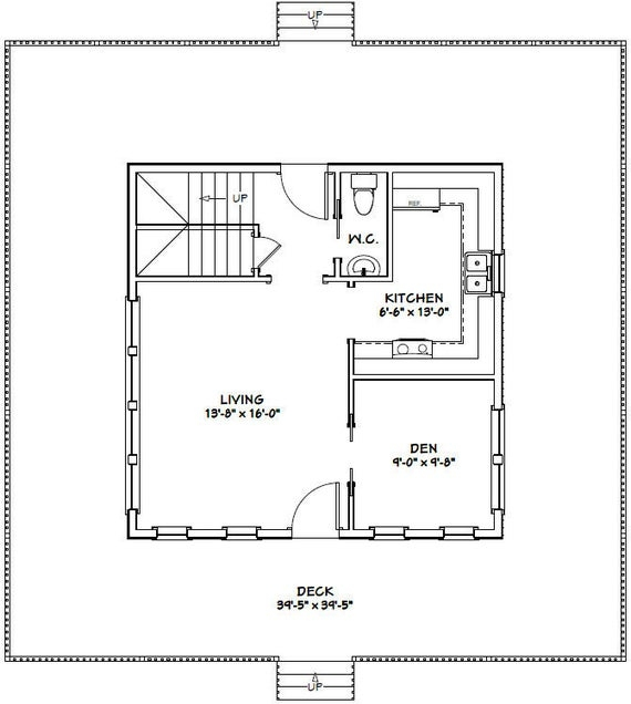 24x24 house 2 bedroom 15 bath 1059 sq ft pdf floor plan instant download model 12h 24x24 Cabin Plans