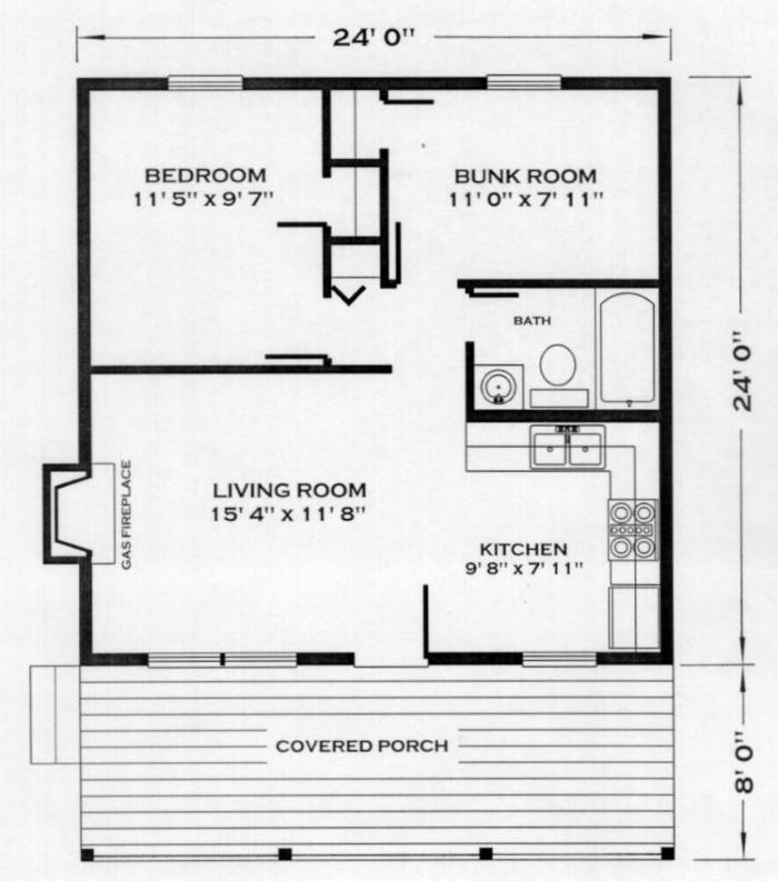 huntsman cabin plan 24x24 Cabin Plans