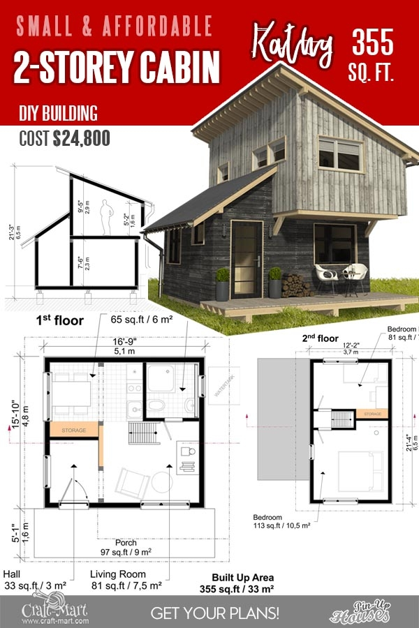 13 best small cabin plans with cost to build craft mart Small 2 Floor Cabin