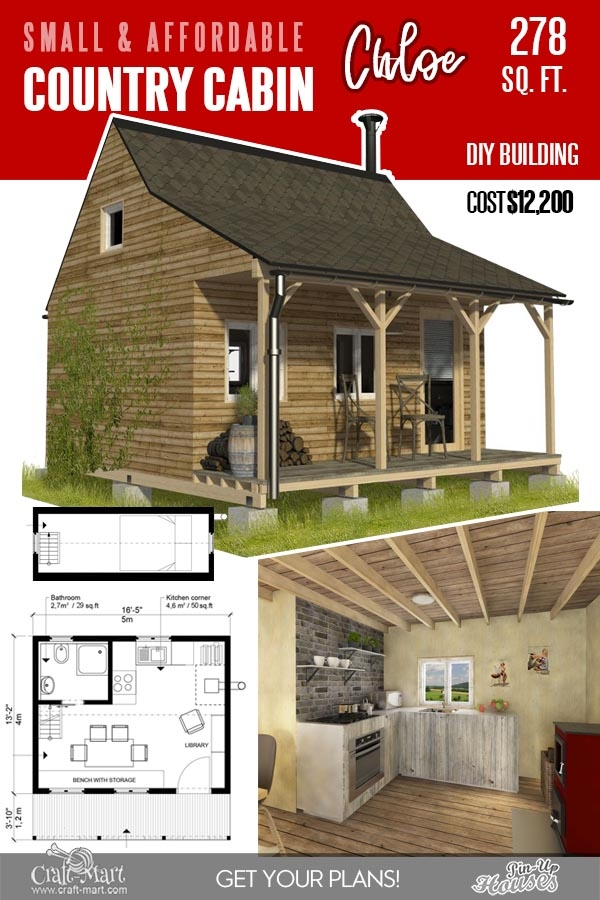 13 best small cabin plans with cost to build craft mart Small Cabin With Loft Plans