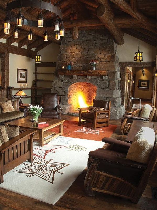 47 extremely cozy and rustic cabin style living rooms Cabin Living Room Ideas
