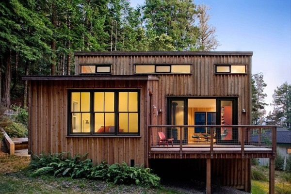 840 sq ft modern and rustic small cabin in the redwoods Small Modern Cabin
