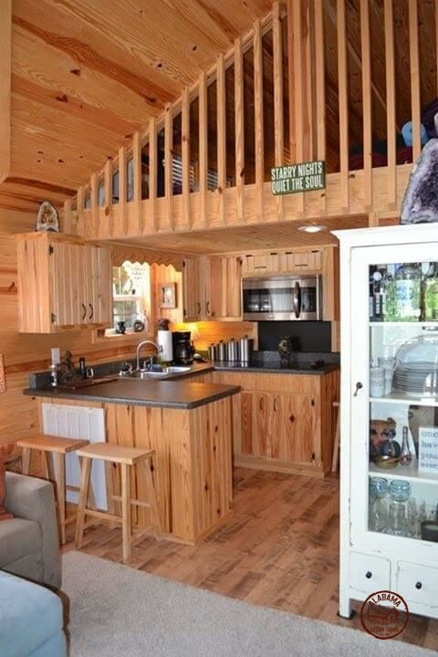 a cozy rustic park model cabin available for sale at Custom Small Cabin