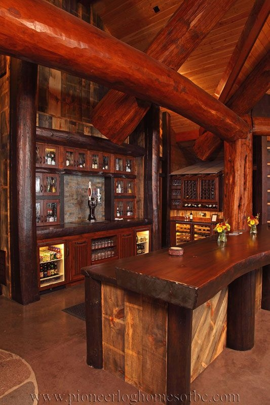 bars and games rooms log home and cabin interiors Log Cabin Bar Areas
