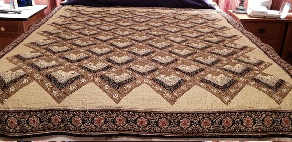 beautiful chevron log cabin handmade quilt throw 68 x 59elegant tan olive green burgandyand black color combination Log Cabin Chevron