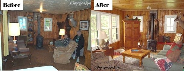 before and after livingroom small cabin cozy cabin cabin Small Cabin Remodels
