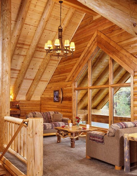 brighten up a log cabin real log style rustic house log Loft Ideas In Log Cabin