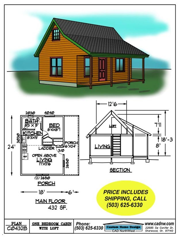 c0432b cabin plan details small cabin plans cabin floor Tiny Cabin Plans