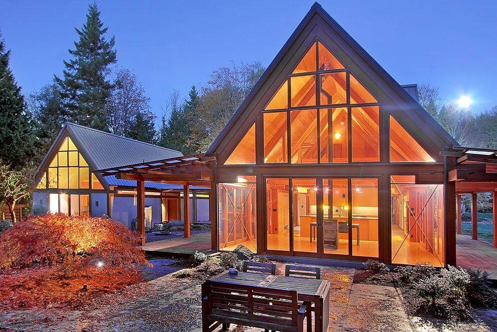 cabin chic mountain home of glass and wood contemporary Mountain House/Cabins