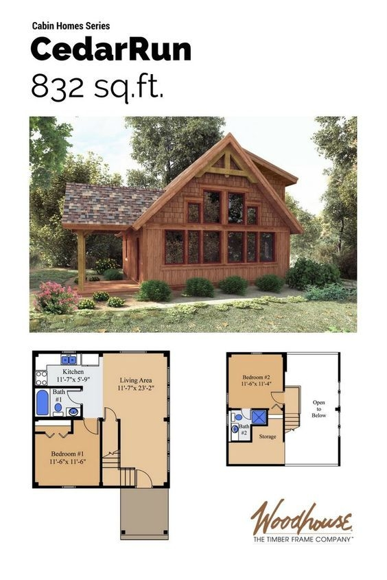 cedarrun woodhouse the timber frame company cabin plans Small Cabins Plans With Lofts