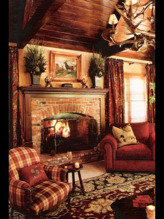 cozy christmas living rooms rustic chic living room Country Cabin Living Room Ideas